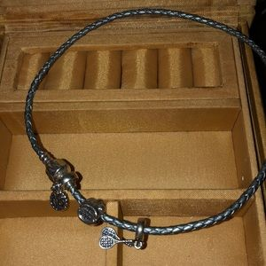 PANDORA GRAY LEATHER ROPE NECKLACE w/3 CHARMS